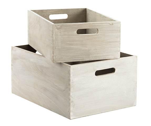 Whitewashed Wood Bins