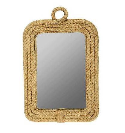 "Home Reflections Handmade 16-1/2"" x 25""H Rope Mirror"