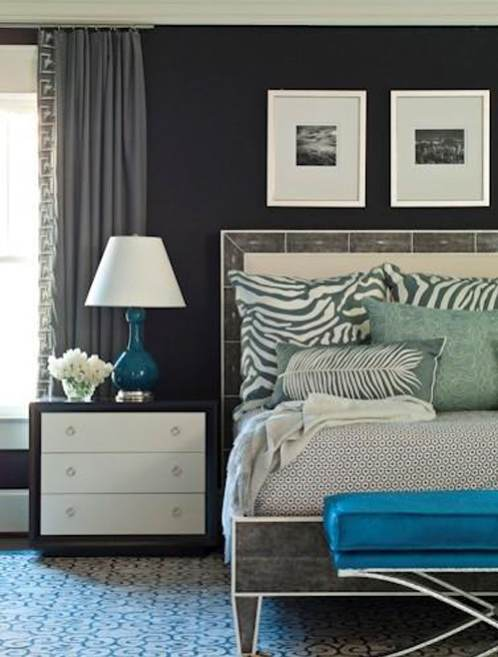 Get the look brian watford grey and teal bedroom the for Bedroom ideas with grey walls