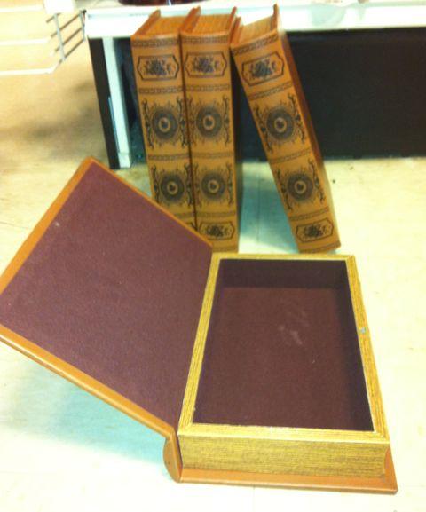 vintage velvet book storage boxes