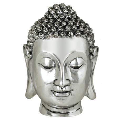 Silver Finish Large Buddha Head Sculpture