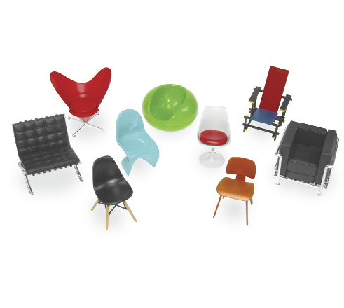mod mini chair sculptures - set of 9