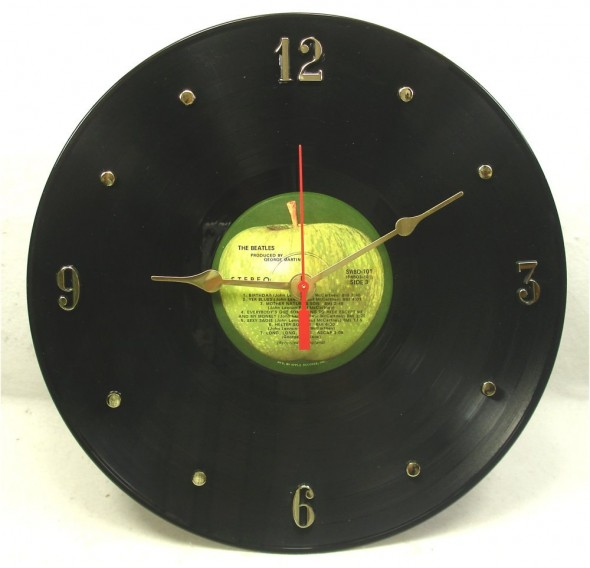 BEATLES The White Album Recycled Record Clock, $26