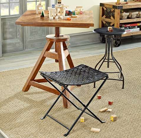 Woven Leather Folding Stool