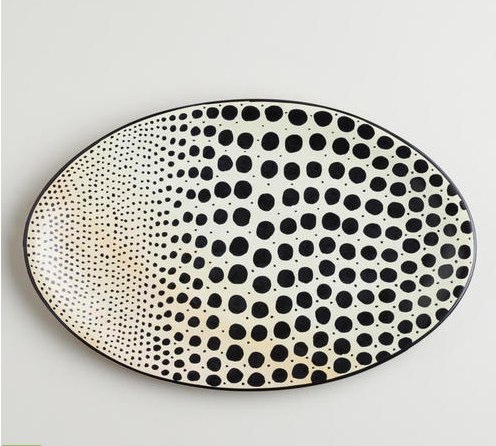 Black and White Soapstone Dot Platter 