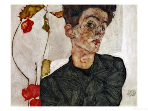 Egon Schiele Self-Portrait with Chinese Lantern and Fruits, $49.99