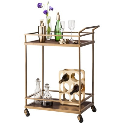 Threshold Wood and Brass Finish Bar Cart , $130