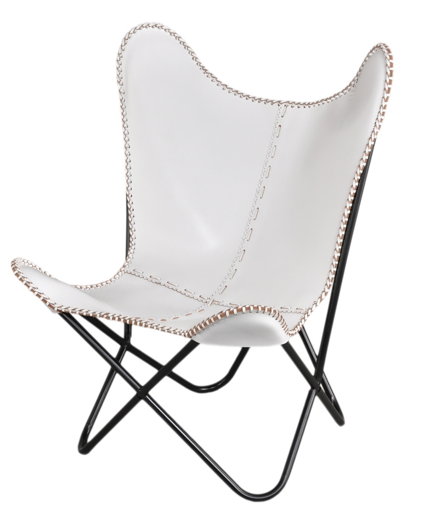 White Leather Butterfly Chair, $229