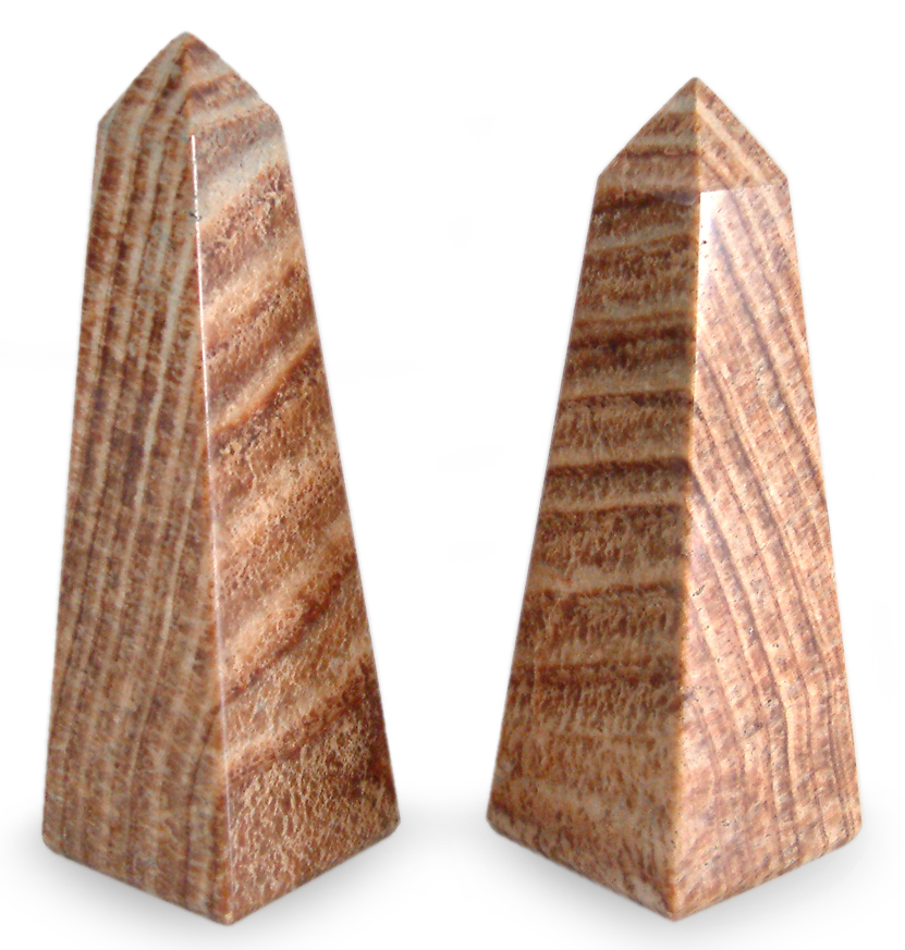 Set of 2 Aragonite Obelisk Towers (Peru), $43