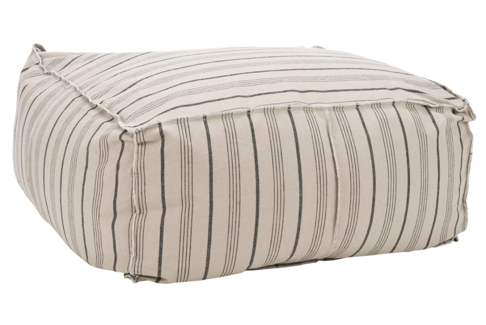 Safavieh Pin-Striped Large Beige Cotton Fabric Poof Ottoman, $185