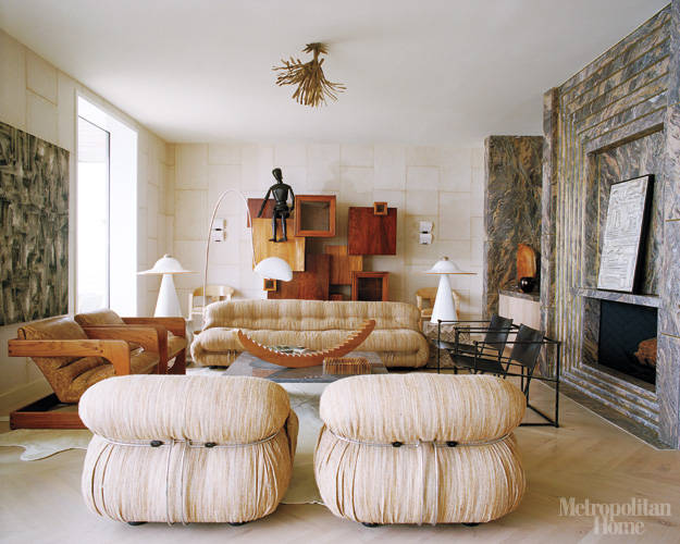 Kelly Wearstler's Malibu Living Room, from Elle Decor