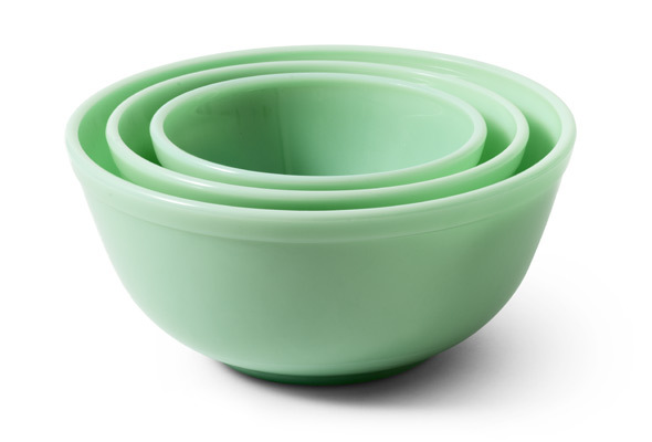 Set of Hand-Pressed Glass Bowls (Jadeite)